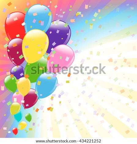 flying colorful balloons and confetti. vector illustration - stock vector