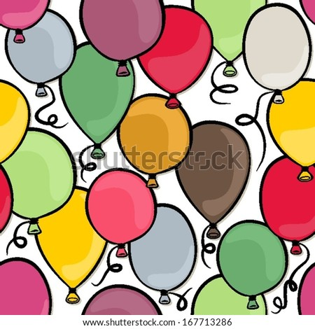flying colorful balloons party time seamless pattern on white background - stock vector
