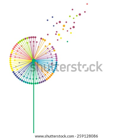 Flying colorful dandelion - stock vector