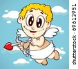 flying cupid with his arrow - stock vector