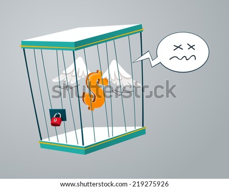 flying dollar trapped in a cage - stock vector