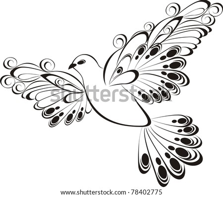 Flying dove silhouette on white background.