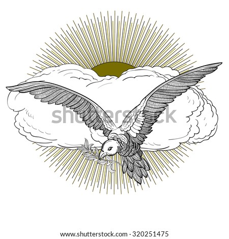 Flying Dove Olive Twig Cloud Rising Stock Vector 320251475
