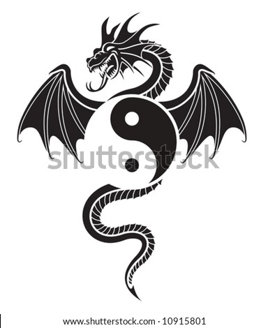 Flying Dragon hanging Yin Yang symbol - stock vector