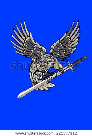 Flying Eagle, spread out its feather - stock vector