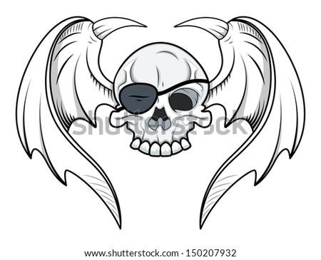 Flying Eye Patch Skull - Vector Cartoon Illustration - stock vector
