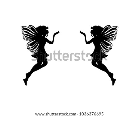 Flying Fairy Kiss Long Distance Sign Stock Vector 1036376695