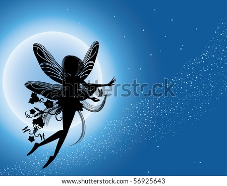 Flying fairy silhouette in night sky vector illustration - stock vector