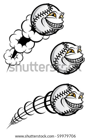 Flying funny baseball ball isolated on white or logo template. Jpeg version also available in gallery - stock vector