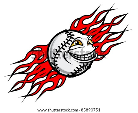 Flying funny baseball ball with fire flames for tattoo design. Rasterized version also available in gallery - stock vector