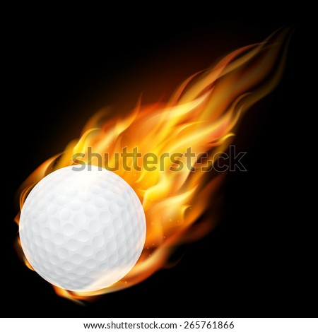 Flying golf ball on fire - falling down. Vector EPS10 illustration.  - stock vector