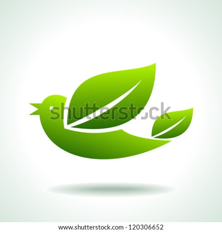 flying green bird, save green - stock vector