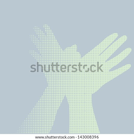 flying hand color halftone - stock vector