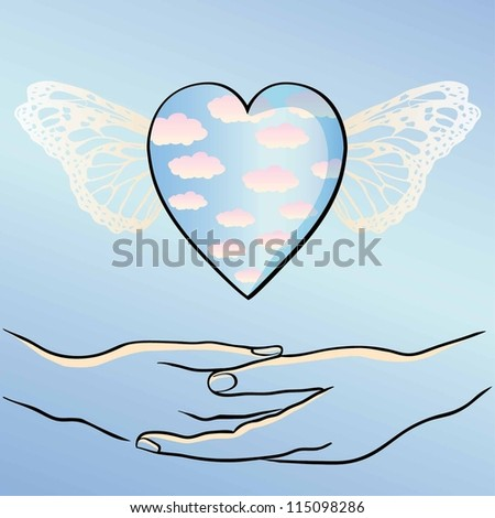 flying heart and sky.Vector illustration - stock vector