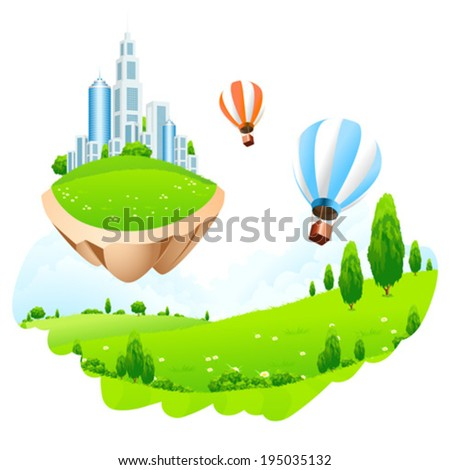 Flying in the Sky Business City on Island - stock vector