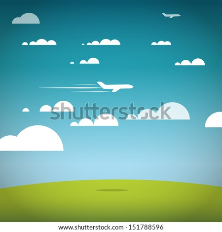Flying jet in the sky. Vacation illustration - stock vector