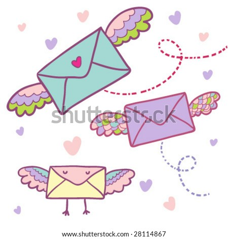Flying mail symbol - cartoon envelopes in vector
