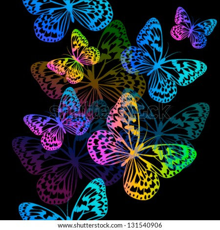 flying multicolored butterflies on a black background - stock vector