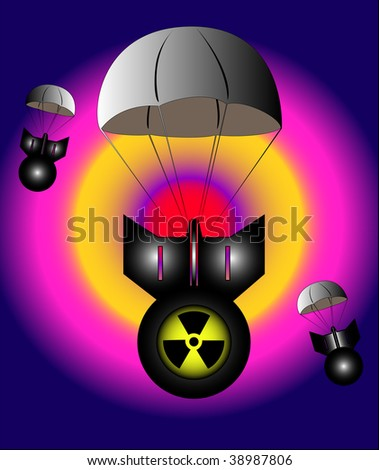 Flying on parachutes a-bombs  with the marking of radiation