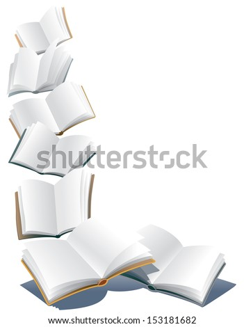 Flying open books over abstract white background - stock vector