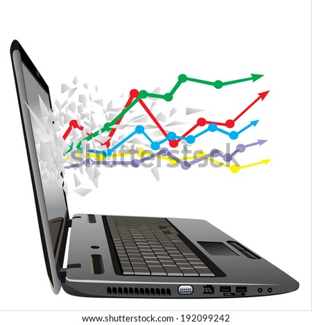 flying out of a broken laptop computer screen- business growth chart   - stock vector