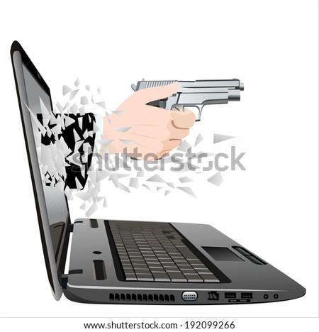 flying out of a broken laptop computer screen-hand giving gun - stock vector
