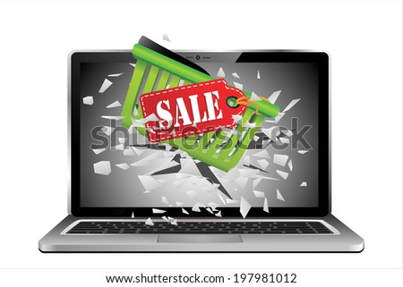 Flying out of a broken laptop computer screen-Shopping carts and a sale label isolated on white background