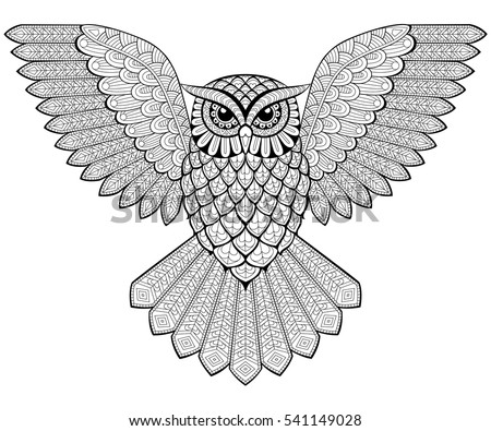 Flying Owl In Zentangle Style Adult Antistress Coloring Page Black And White Hand Drawn