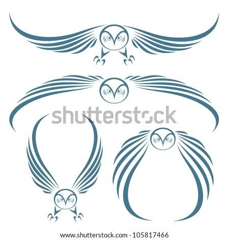 Great Horned Owl Flying Tattoo Flying owls tattoo - vector