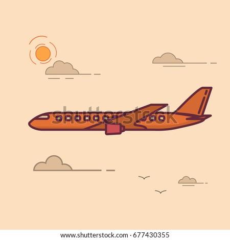 flying passenger jet plane trip airplane stock vector royalty free