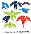 flying people, vector wings and hearts symbols - stock vector