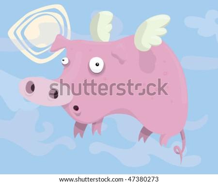 Flying pig. - stock vector