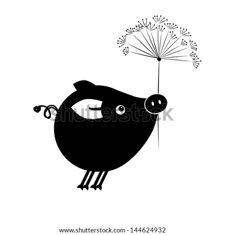 Flying piggy with flower for your design - stock vector