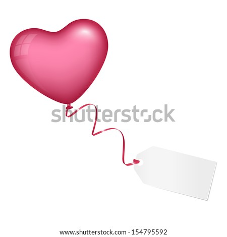 Flying pink heart balloon with love letter - stock vector
