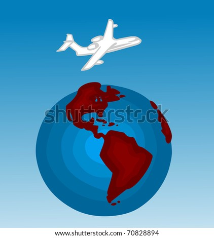 Flying Plane - stock vector