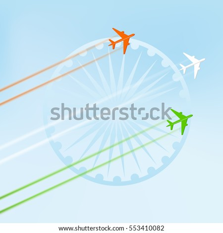 Flying  plane in national tricolor with Ashoka Wheel on  blue background for Indian Republic Day celebration.