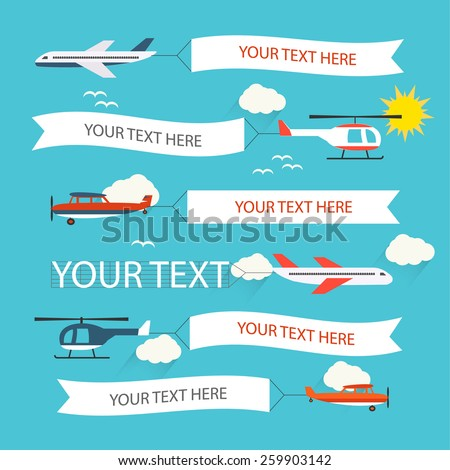 Flying planes and helicopters set with the banners, template for text, vector illustration - stock vector