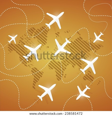 flying planes in different directions illustration design over a orange background - stock vector