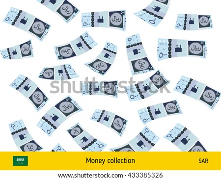 Flying Saudi Arabian riyal banknote. Money rain. Falling riyal - stock vector