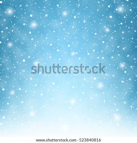 Flying snowflakes on a light blue background. Winter Abstract snowflakes. Falling snow. Vector illustration