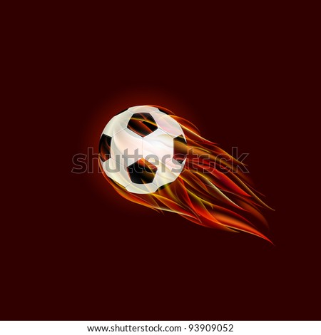 Flying Soccer Ball with Flame on Dark Red Background. Vector Illustration. - stock vector
