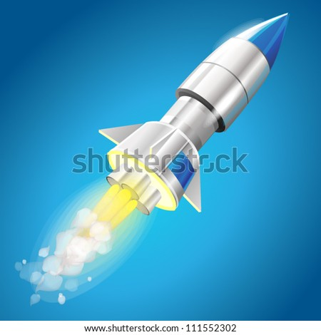 Flying steel metal rocket - EPS 10 blue color - stock vector