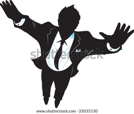 Flying Suitman - stock vector