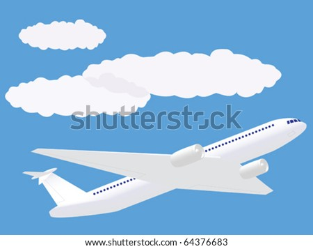 Flying up airplane which flies by under clouds - stock vector