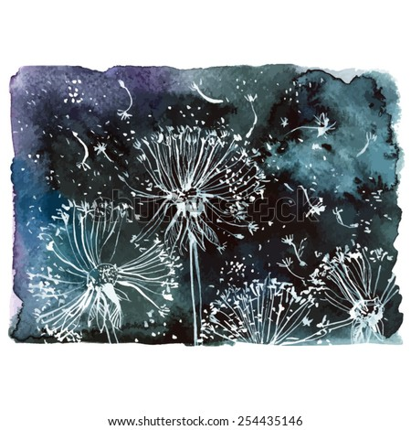 flying white dandelions on a black background/ watercolor painting/ vector illustration - stock vector