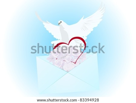 Flying white dove, an envelope with a letter and flowers and heart. The illustration on blue background. - stock vector