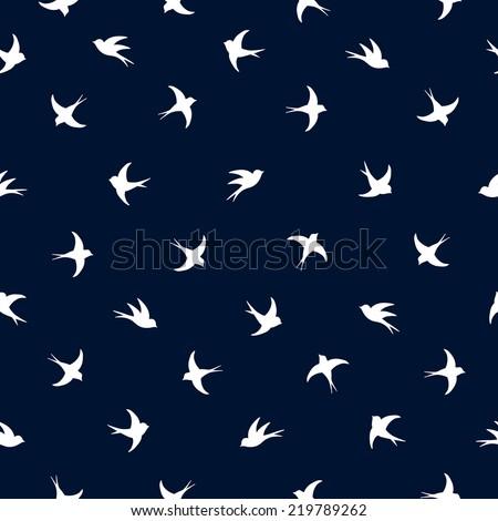 Flying white outline birds pattern on dark blue background - stock vector