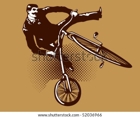 flying with old bicycle. - stock vector