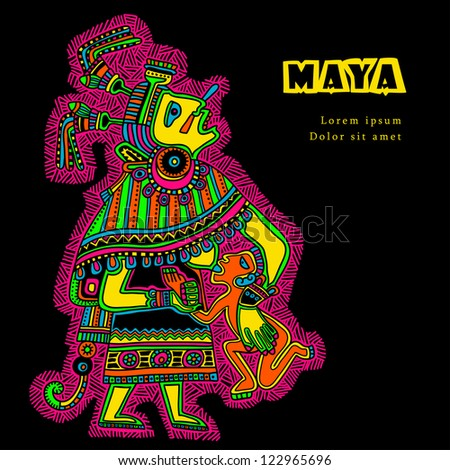 Flyuro image of the Maya. Maya designs. Maya design elements. - stock vector