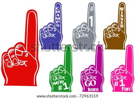 Foam fingers - stock vector